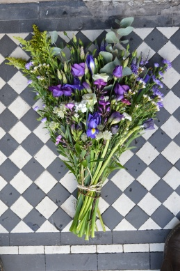 Purples and Creams Natural Funeral Spray - Lisianthus, Astrantia, Aster, Iris, Anemone, firs and ferns - £30